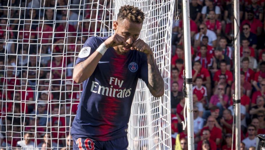 NIMES, FRANCE - SEPTEMBER 01: Neymar da Silva of Paris Saint-Germain react after goal during the Ligue 1 match between Paris Saint-Germain and Nimes Olympique at Stade des Costières  on September 01, 2018 in Nimes, France. (Photo by Arnold Jerocki/Getty Images)