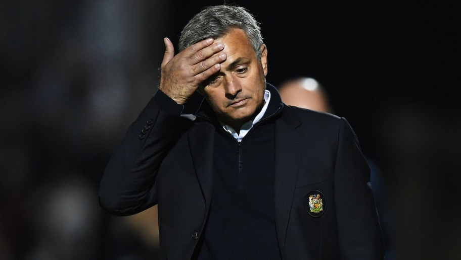 NORTHAMPTON, ENGLAND - SEPTEMBER 21:  Jose Mourinho, Manager of Manchester United looks dejected during the  EFL Cup Third Round match between Northampton Town and Manchester United at Sixfields on September 21, 2016 in Northampton, England.  (Photo by Shaun Botterill/Getty Images)