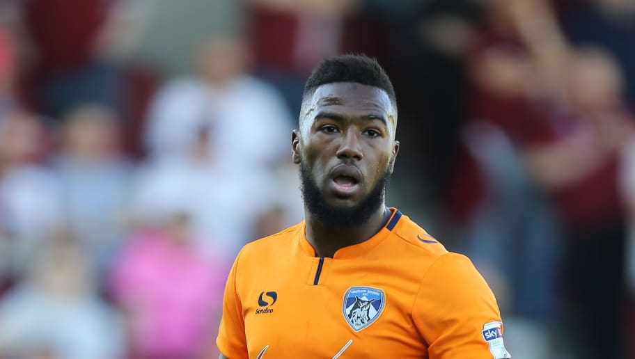 NORTHAMPTON, ENGLAND - MAY 05: Duckens Nazon of Oldham Athletic in action during the Sky Bet League One match between Northampton Town and Oldham Athletic at Sixfields on May 5, 2018 in Northampton, England. (Photo by Pete Norton/Getty Images)