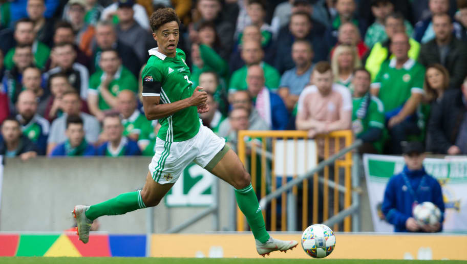 BELFAST, NORTHERN IRELAND - SEPTEMBER 08: Jamal Lewis of Northern Ireland in action during the UEFA Nations League B group three match between Northern Ireland and Bosnia-Herzegovina at Windsor Park on September 8, 2018 in Belfast, United Kingdom. (Photo by Craig Mercer/MB Media/Getty Images)