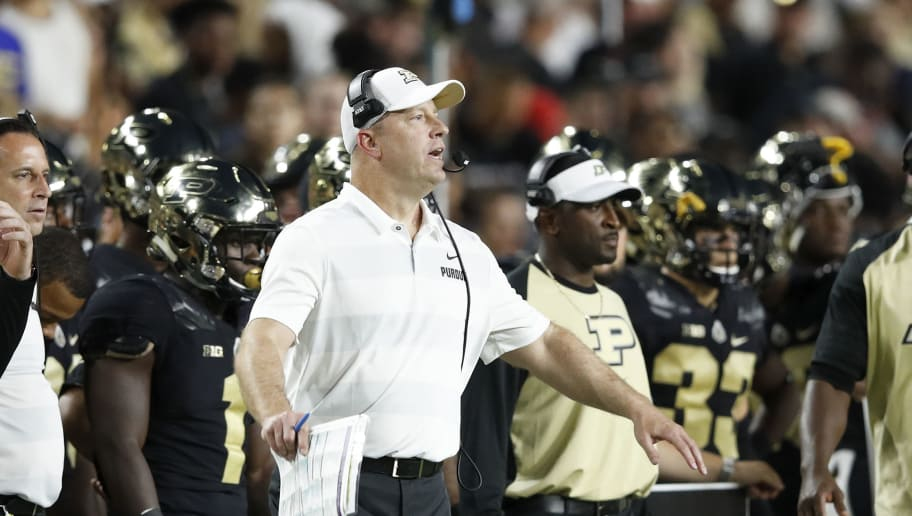 WEST LAFAYETTE, IN - AUGUST 30: Head coach Jeff Brohm of the Purdue Boilermakers reacts in the second quarter of a game against the Northwestern Wildcats at Ross-Ade Stadium on August 30, 2018 in West Lafayette, Indiana. (Photo by Joe Robbins/Getty Images)