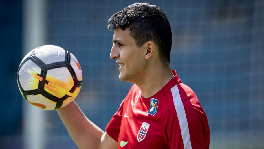 OSLO, NORWAY - MAY 29: Mohamed Amine Elyounoussi of Norway during training session before Iceland v Norway at Ullevaal Stadion on May 29, 2018 in Oslo, Norway. (Photo by Trond Tandberg/Getty Images)
