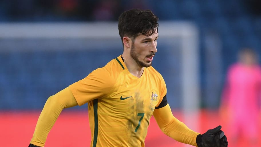 OSLO, NORWAY - MARCH 23:  Mathew Leckie of Australia in action during the International Friendly match between Norway and Australia at Ullevaal Stadion on March 23, 2018 in Oslo, Norway.  (Photo by Michael Regan/Getty Images)