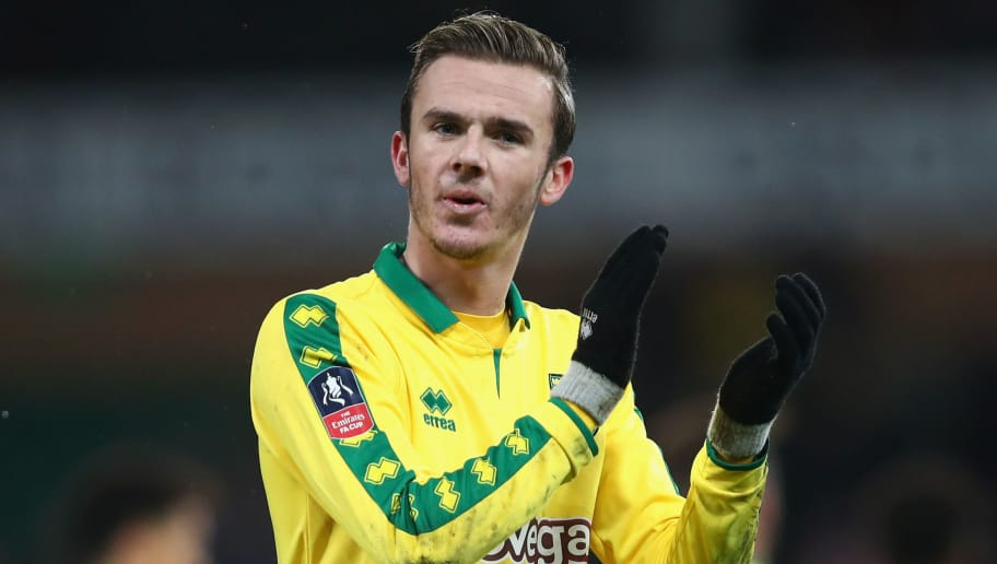 NORWICH, ENGLAND - JANUARY 06: James Maddison of Norwich City shows appreciation to the fans after the The Emirates FA Cup Third Round match between Norwich City and Chelsea at Carrow Road on January 6, 2018 in Norwich, England.  (Photo by James Chance/Getty Images)