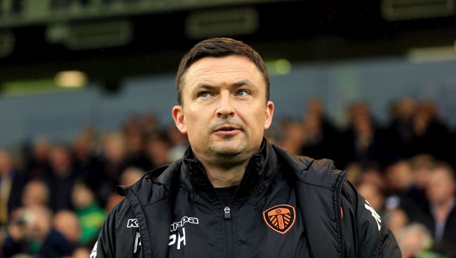 NORWICH, ENGLAND - APRIL 28:  Leeds United Manager Paul Heckingbottom during the Sky Bet Championship match between Norwich City and Leeds United at Carrow Road on April 28, 2018 in Norwich, England. (Photo by Stephen Pond/Getty Images)