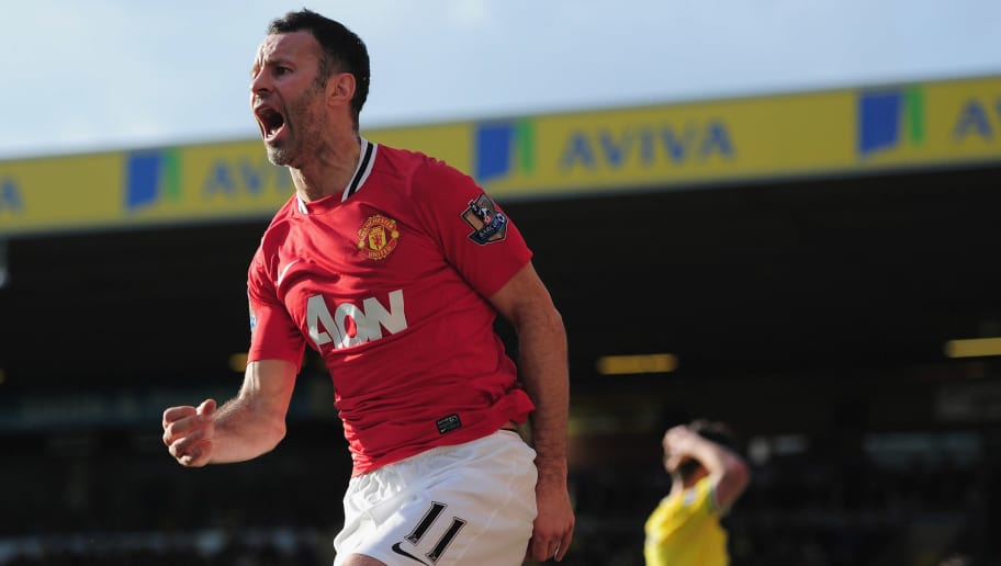 NORWICH, ENGLAND - FEBRUARY 26:  Ryan Giggs of Manchester United celebrates his last minute goal during the Barclays Premier League match between Norwich City and Manchester United at Carrow Road on February 26, 2012 in Norwich, England.  (Photo by Jamie McDonald/Getty Images)