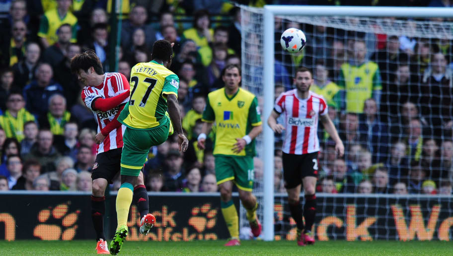 NORWICH, ENGLAND - MARCH 22:  Alex Tettey (2nd R) of Norwich City scores their second goal during the Barclays Premier League match between Norwich City and Sunderland at Carrow Road on March 22, 2014 in Norwich, England. (Photo by Alex Broadway/Getty Images)