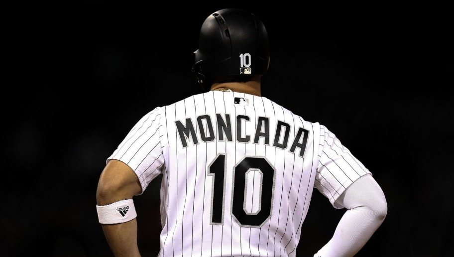 CHICAGO, IL - SEPTEMBER 26:  Yoan Moncada #10 of the Chicago White Sox stands on first base in the eighth inning against the Cleveland Indians at Guaranteed Rate Field on September 26, 2018 in Chicago, Illinois. (Photo by Dylan Buell/Getty Images)