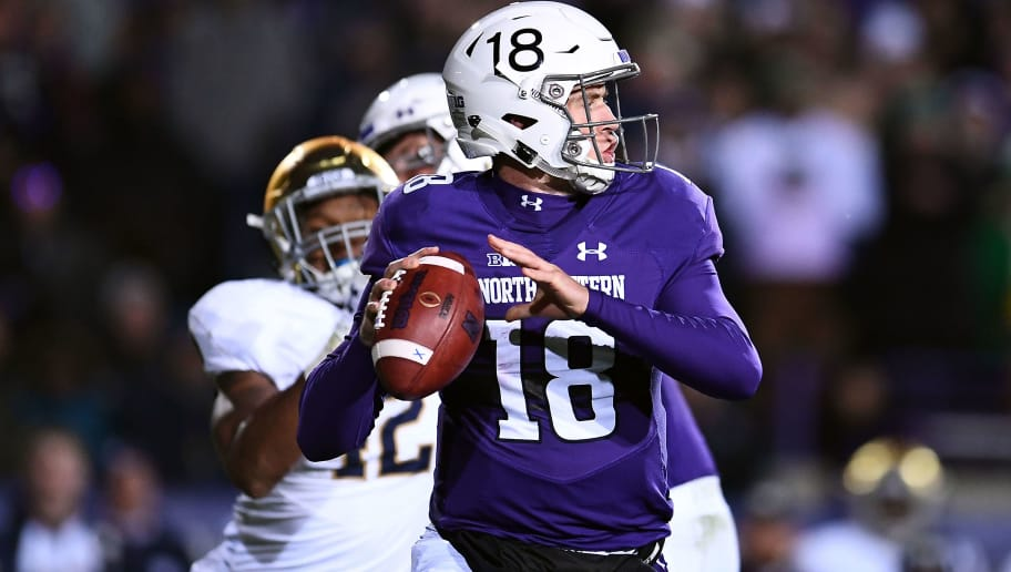 EVANSTON, IL - NOVEMBER 03:  Clayton Thorson #18 of the Northwestern Wildcats drops back to pass during a game against the Notre Dame Fighting Irish at Ryan Field on November 3, 2018 in Evanston, Illinois.  Notre Dame defeated Northwestern 31-21.  (Photo by Stacy Revere/Getty Images)