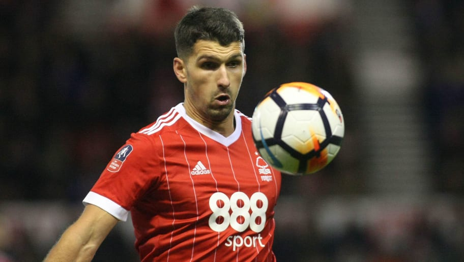 Eric Lichaj keeps his eye on the ball for Forest  during The Emirates FA Cup Third Round match between Nottingham Forest and Arsenal at City Ground on January 7, 2018 in Nottingham, England..