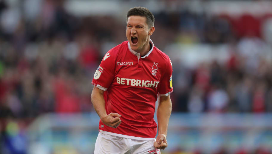 NOTTINGHAM, ENGLAND - AUGUST 25:  Joe Lolley of Nottingham Forest celebrates after scoring their first goal during the Sky Bet Championship match between Nottingham Forest and Birmingham City at City Ground on August 25, 2018 in Nottingham, England.  (Photo by Alex Morton/Getty Images)