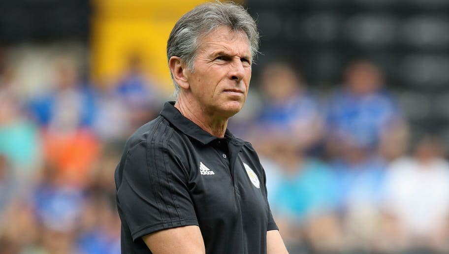NOTTINGHAM, ENGLAND - JULY 21:  Claude Puel, the Leicester City manager looks on durng the pre-season friendly match between Notts County and Leicester City at Meadow Lane on July 21, 2018 in Nottingham, England.  (Photo by David Rogers/Getty Images)