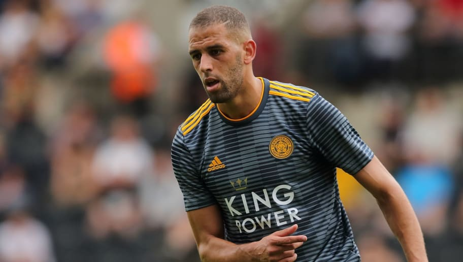 NOTTINGHAM, ENGLAND - JULY 21: Islam Slimani of Leicester City during the pre-season match between Notts County and Leicester City at Meadow Lane on July 21, 2018 in Nottingham, England. (Photo by James Williamson - AMA/Getty Images)