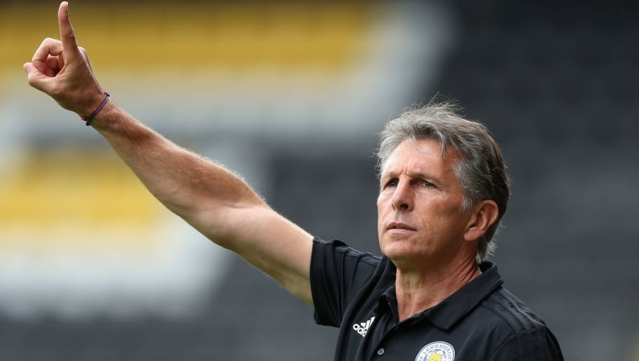 NOTTINGHAM, ENGLAND - JULY 21:  Claude Puel, the Leicester City manager issues instructions durng the pre-season friendly match between Notts County and Leicester City at Meadow Lane on July 21, 2018 in Nottingham, England.  (Photo by David Rogers/Getty Images)