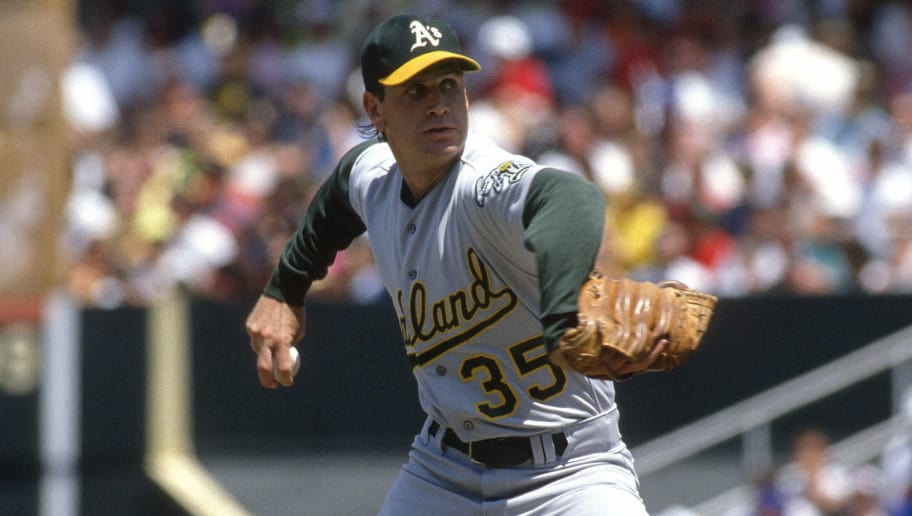 BALTIMORE, MD - CIRCA 1991: Bob Welch #35 of the Oakland Athletics pitches against the Baltimore Orioles during an Major League baseball game circa 1991 at Memorial Stadium in Baltimore, Maryland. Welch played for the Athletics from 1988-94. (Photo by Focus on Sport/Getty Images)