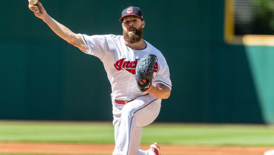 CLEVELAND, OH - JULY 7: Starting pitcher Corey Kluber #28 of the Cleveland Indians pitches during the first inning against the Oakland Athletics at Progressive Field on July 7, 2018 in Cleveland, Ohio. (Photo by Jason Miller/Getty Images)