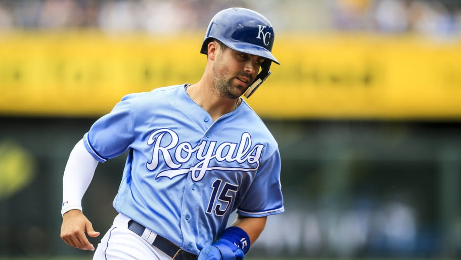 KANSAS CITY, MO - JUNE 02: Whit Merrifield #15 of the Kansas City Royals runs past third base during the first inning against the Oakland Athletics at Kauffman Stadium on June 2, 2018 in Kansas City, Missouri. (Photo by Brian Davidson/Getty Images)
