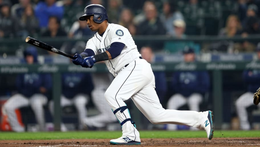 SEATTLE - SEPTEMBER 24:  Jean Segura #2 of the Seattle Mariners bats during the game against the Oakland Athletics at Safeco Field on September 24, 2018 in Seattle, Washington.  The Athletics defeated the Mariners 7-3.  (Photo by Rob Leiter/MLB Photos via Getty Images)