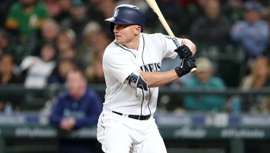 SEATTLE - SEPTEMBER 24:  Kyle Seager #15 of the Seattle Mariners bats during the game against the Oakland Athletics at Safeco Field on September 24, 2018 in Seattle, Washington.  The Athletics defeated the Mariners 7-3.  (Photo by Rob Leiter/MLB Photos via Getty Images)