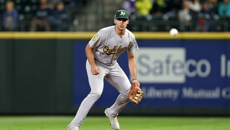 SEATTLE - SEPTEMBER 24:  Matt Olson #28 of the Oakland Athletics plays first base during the game against the Seattle Mariners at Safeco Field on September 24, 2018 in Seattle, Washington.  The Athletics defeated the Mariners 7-3.  (Photo by Rob Leiter/MLB Photos via Getty Images)