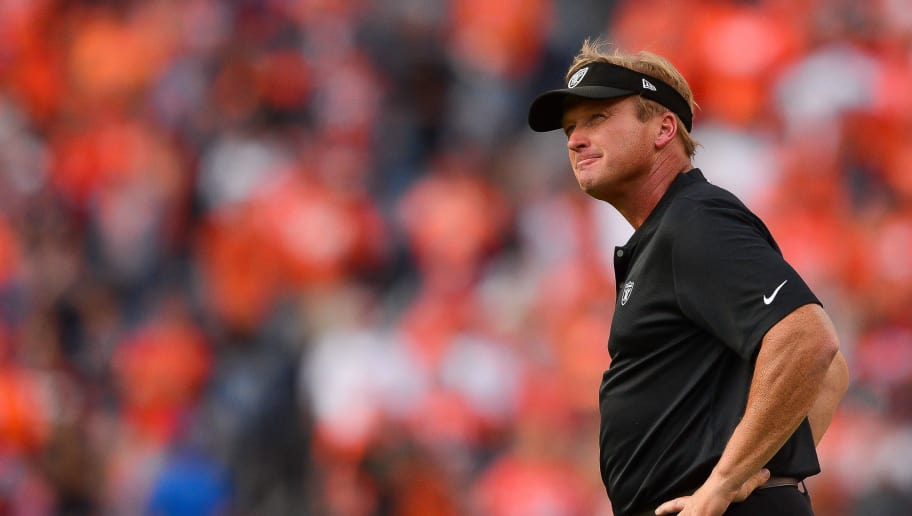 DENVER, CO - SEPTEMBER 16:  Head coach Jon Gruden of the Oakland Raiders looks up over the field after giving up the lead with six seconds left in the fourth quarter of a game against the Denver Broncos at Broncos Stadium at Mile High on September 16, 2018 in Denver, Colorado. (Photo by Dustin Bradford/Getty Images)