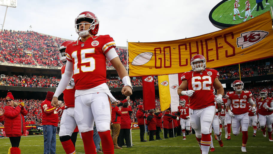 KANSAS CITY, MISSOURI - DECEMBER 30:  Quarterback Patrick Mahomes #15 of the Kansas City Chiefs during player introductions prior to the game against the Oakland Raiders at Arrowhead Stadium on December 30, 2018 in Kansas City, Missouri. (Photo by Jamie Squire/Getty Images)