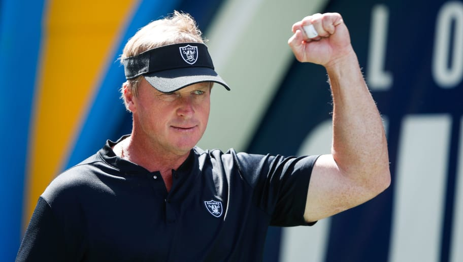 CARSON, CA - OCTOBER 07: Oakland Raiders head coach Jon Gruden walks out to the field ahead of the game against the Los Angeles Chargers at StubHub Center on October 7, 2018 in Carson, California. (Photo by Sean M. Haffey/Getty Images)