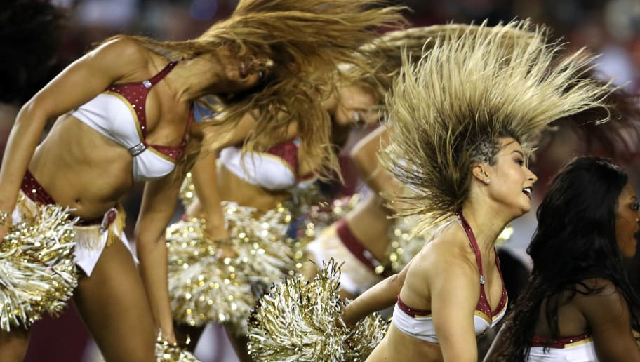 LANDOVER, MD - SEPTEMBER 24: Washington Redskins cheerleaders perform at FedExField on September 24, 2017 in Landover, Maryland. (Photo by Patrick Smith/Getty Images)