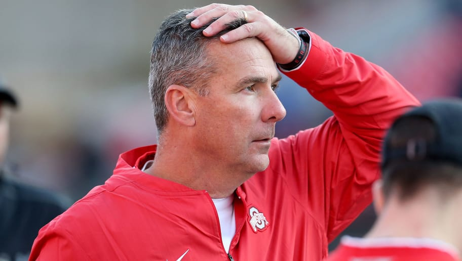 COLLEGE PARK, MD - NOVEMBER 17: Head coach Urban Meyer of the Ohio State Buckeyes reacts after a play against the Maryland Terrapins during the second half at Capital One Field on November 17, 2018 in College Park, Maryland. (Photo by Will Newton/Getty Images)