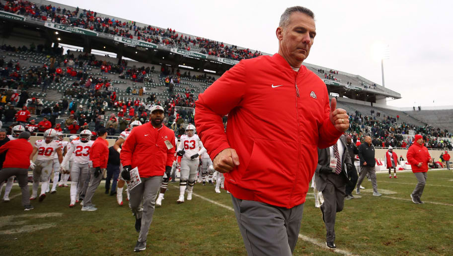 EAST LANSING, MI - NOVEMBER 10: Head coach Urban Meyer of the Ohio State Buckeyes leave the field after a 26-6 win over the Michigan State Spartans at Spartan Stadium on November 10, 2018 in East Lansing, Michigan. (Photo by Gregory Shamus/Getty Images)
