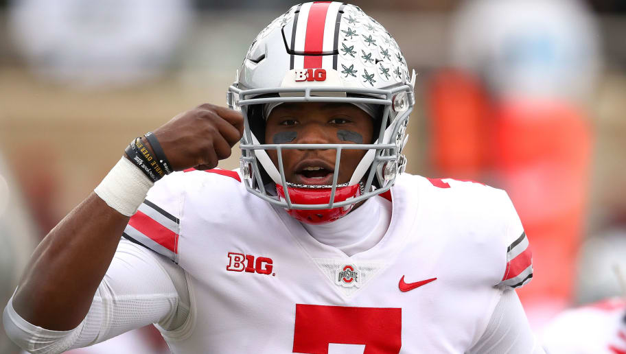 EAST LANSING, MI - NOVEMBER 10: Dwayne Haskins #7 of the Ohio State Buckeyes signals teammates while playing the Michigan State Spartans in the first half at Spartan Stadium on November 10, 2018 in East Lansing, Michigan. (Photo by Gregory Shamus/Getty Images)