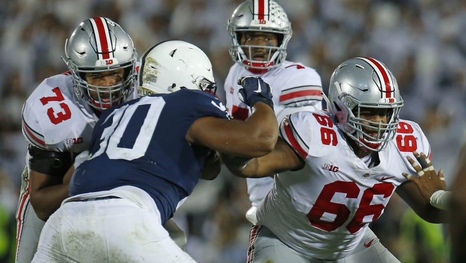 STATE COLLEGE, PA - SEPTEMBER 29:  Malcolm Pridgeon #66 of the Ohio State Buckeyes and Michael Jordan #73 of the Ohio State Buckeyes in action against the Penn State Nittany Lions on September 29, 2018 at Beaver Stadium in State College, Pennsylvania.  (Photo by Justin K. Aller/Getty Images)