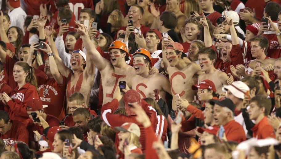 MADISON, WI - OCTOBER 15: Wisconsin Badgers fans yell in the stands during the spring announcements before the game against the Ohio State Buckeyes at Camp Randall Stadium on October 15, 2016 in Madison, Wisconsin. (Photo by Mike McGinnis/Getty Images)