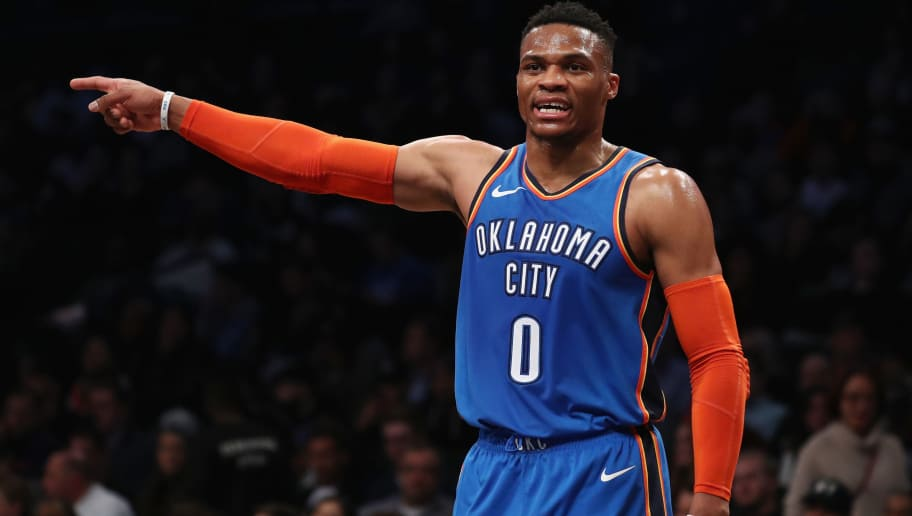 NEW YORK, NY - DECEMBER 05:  Russell Westbrook #0 of the Oklahoma City Thunder gestures against the Brooklyn Nets during their game at the Barclays Center on December 5, 2018 in New York City.  (Photo by Al Bello/Getty Images)