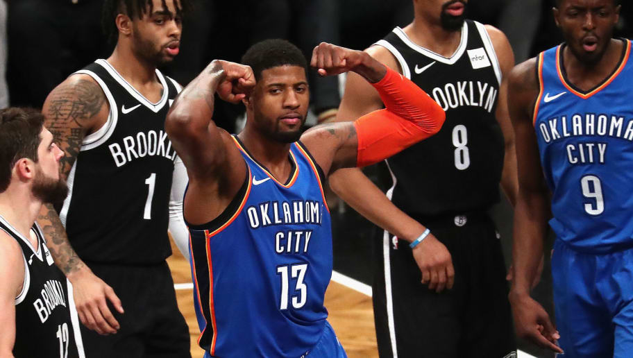 NEW YORK, NY - DECEMBER 05:  Paul George #13 of the Oklahoma City Thunder celebrates a shot against the Brooklyn Nets during their game at the Barclays Center on December 5, 2018 in New York City.  (Photo by Al Bello/Getty Images)