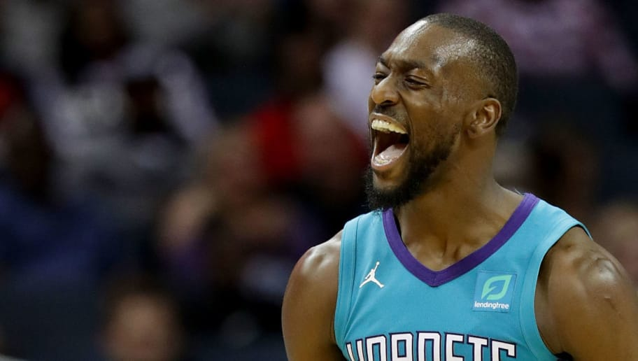 CHARLOTTE, NC - NOVEMBER 01:  Kemba Walker #15 of the Charlotte Hornets reacts after a play against the Oklahoma City Thunder during their game at Spectrum Center on November 1, 2018 in Charlotte, North Carolina. NOTE TO USER: User expressly acknowledges and agrees that, by downloading and or using this photograph, User is consenting to the terms and conditions of the Getty Images License Agreement.  (Photo by Streeter Lecka/Getty Images)