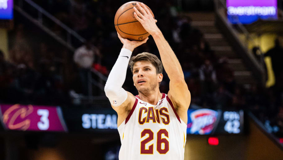 CLEVELAND, OH - NOVEMBER 7: Kyle Korver #26 of the Cleveland Cavaliers shoots a three during the second half against the Oklahoma City Thunder at Quicken Loans Arena on November 7, 2018 in Cleveland, Ohio. The Thunder defeated the Cavaliers 95-86. NOTE TO USER: User expressly acknowledges and agrees that, by downloading and/or using this photograph, user is consenting to the terms and conditions of the Getty Images License Agreement. (Photo by Jason Miller/Getty Images)