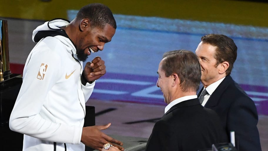 bd17e35a68e Warriors Naming Kevin Durant Last in Ring Ceremony Proves They ll Do  Anything to Keep Him. Scott Rogust 17 Oct 2018