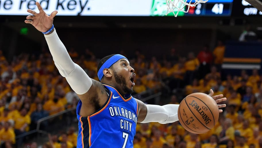SALT LAKE CITY, UT - APRIL 21: Carmelo Anthony #7 of the Oklahoma City Thunder reacts to his basket in the first half during Game Three of Round One of the 2018 NBA Playoffs against the Utah Jazz at Vivint Smart Home Arena on April 21, 2018 in Salt Lake City, Utah.  NOTE TO USER: User expressly acknowledges and agrees that, by downloading and or using this photograph, User is consenting to the terms and conditions of the Getty Images License Agreement. (Photo by Gene Sweeney Jr./Getty Images)