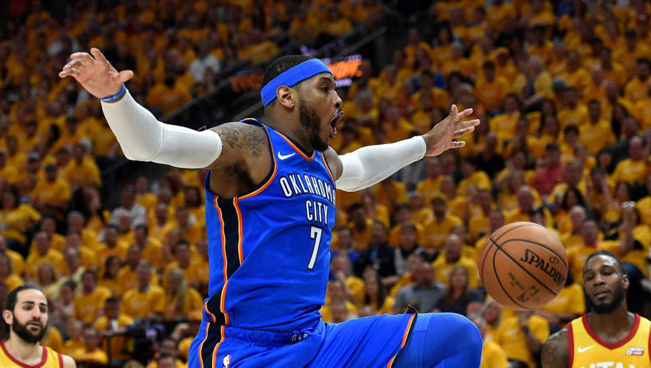 SALT LAKE CITY, UT - APRIL 21: Carmelo Anthony #7 of the Oklahoma City Thunder reacts to his basket during Game Three of Round One of the 2018 NBA Playoffs against the Utah Jazz at Vivint Smart Home Arena on April 21, 2018 in Salt Lake City, Utah. NOTE TO USER: User expressly acknowledges and agrees that, by downloading and or using this photograph, User is consenting to the terms and conditions of the Getty Images License Agreement. (Photo by Gene Sweeney Jr./Getty Images)