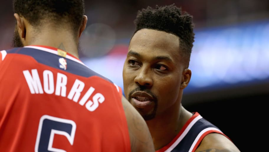 WASHINGTON, DC - NOVEMBER 02: Dwight Howard #21 of the Washington Wizards speaks to Markieff Morris #5 of the Washington Wizards during the first half against the Oklahoma City Thunder at Capital One Arena on November 2, 2018 in Washington, DC. NOTE TO USER: User expressly acknowledges and agrees that, by downloading and or using this photograph, User is consenting to the terms and conditions of the Getty Images License Agreement. (Photo by Will Newton/Getty Images)