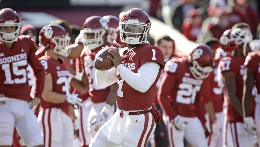 NORMAN, OK - NOVEMBER 10: Quarterback Kyler Murray #1 of the Oklahoma Sooners warms up before the game against the Oklahoma State Cowboys at Gaylord Family Oklahoma Memorial Stadium on November 10, 2018 in Norman, Oklahoma. Oklahoma defeated Oklahoma State 48-47. (Photo by Brett Deering/Getty Images)