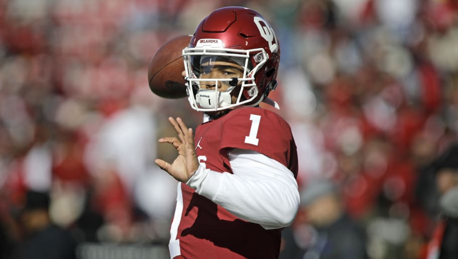 NORMAN, OK - NOVEMBER 10: Kyler Murray #1 of the Oklahoma Sooners during the game against the Oklahoma State Cowboys at Gaylord Family Oklahoma Memorial Stadium on November 10, 2018 in Norman, Oklahoma. Oklahoma defeated Oklahoma State 48-47. (Photo by Brett Deering/Getty Images)