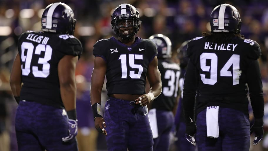 FORT WORTH, TEXAS - NOVEMBER 24:  Ben Banogu #15 of the TCU Horned Frogs at Amon G. Carter Stadium on November 24, 2018 in Fort Worth, Texas. (Photo by Ronald Martinez/Getty Images)