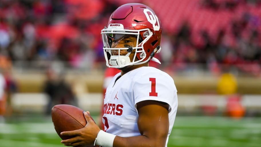 LUBBOCK, TX - NOVEMBER 03: Kyler Murray #1 of the Oklahoma Sooners stands on the field during warm ups before the game against the Texas Tech Red Raiders on November 3, 2018 at Jones AT&T Stadium in Lubbock, Texas. Oklahoma defeated Texas Tech 51-46. (Photo by John Weast/Getty Images)