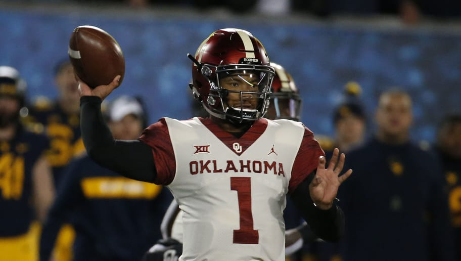 MORGANTOWN, WV - NOVEMBER 23:  Kyler Murray #1 of the Oklahoma Sooners in action against the West Virginia Mountaineers on November 23, 2018 at Mountaineer Field in Morgantown, West Virginia.  (Photo by Justin K. Aller/Getty Images)