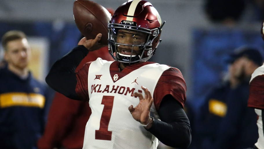 MORGANTOWN, WV - NOVEMBER 23:  Kyler Murray #1 of the Oklahoma Sooners warms up before the game against the West Virginia Mountaineers on November 23, 2018 at Mountaineer Field in Morgantown, West Virginia.  (Photo by Justin K. Aller/Getty Images)