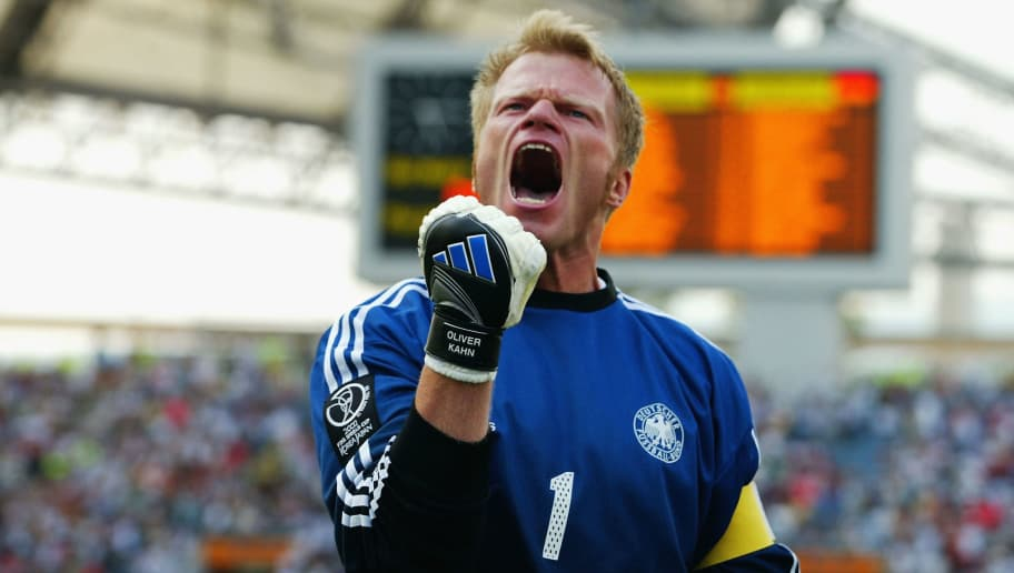 SEOGWIPO - JUNE 15:  Goalkeeper Oliver Kahn of Germany celebrates Oliver Neuville's winning goal during the Germany v Paraguay, World Cup Second Round match played at the Seogwipo-Jeju World Cup Stadium in Seogwipo, South Korea on June 15, 2002. Germany won 1-0. (Photo by Ben Radford/Getty Images)