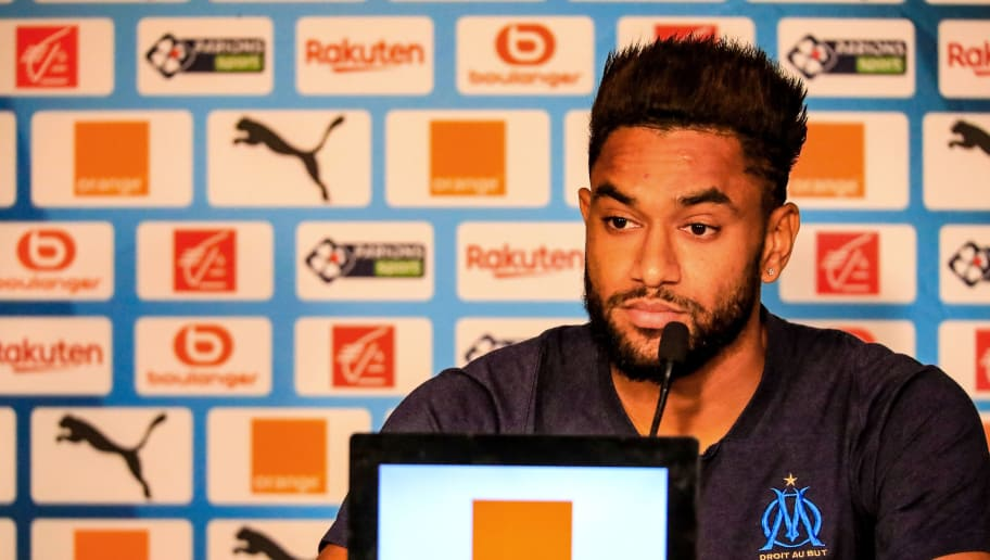 MARSEILLE, FRANCE - OCTOBER 19:  Jordan Amavi of Olympique de Marseille speaks to the media during a press conference on October 19, 2018 in Marseille, France.  (Photo by Laurent Saccomano - OM/Getty Images)