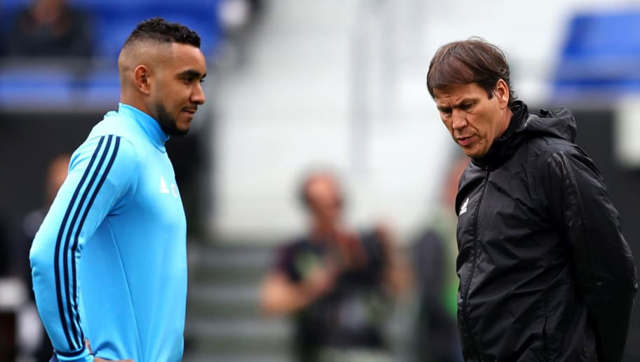 LYON, FRANCE - MAY 15:  Dimitri Payet of Marseille in action as Rudi Garcia head coach of Marseille looks on during an Olympique de Marseille training session ahead of the the UEFA Europa League Final against Club Atletico de Madrid at Stade de Lyon on May 15, 2018 in Lyon, France.  (Photo by Michael Steele/Getty Images)